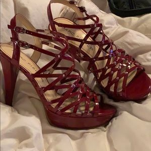 Red faux leather strappy platform sandals